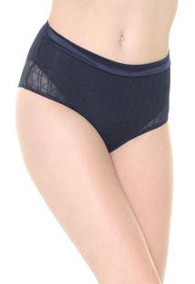 Calcinha Triumph Hot Pant Tule Geométrico Azul-Marinho