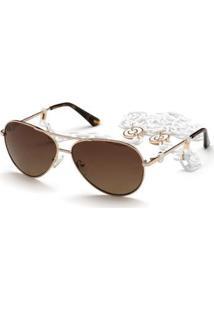 Óculos De Sol Guess - Feminino-Dourado