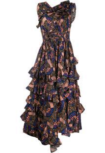 Ulla Johnson Abstract Print Ruffled Dress - Verde