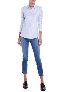 Camisa Dudalina Tricoline Fit Feminina (Listrado, 40)