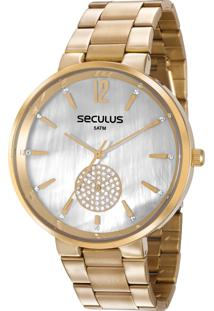 759aa0ff4c7 E Clock. Relógio Feminino Analógico Seculus Dourado 77022lpsvds1