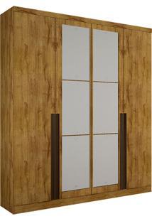 Guarda-Roupa Solteiro Com Espelho 4 Portas Morfeu-Novo Horizonte - Freijo Dourado