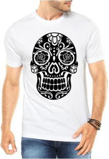 Camiseta Criativa Urbana Caveira Mexicana Rosas - Masculino-Branco