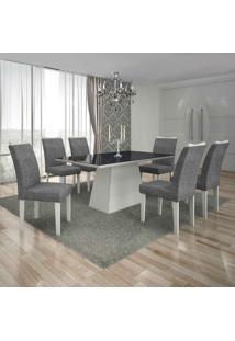 Conjunto De Mesa Com 6 Cadeiras Pampulha Ii Linho Branco E Cinza