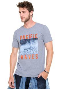 Camiseta Fiveblu Manga Curta Slim Pacif Waves Cinza