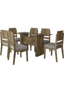 Mesa De Jantar Europa Com 6 Cadeiras Esmeralda Amadeirado Com Pena Caramelo Rv Móveis