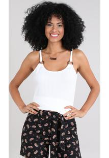 Regata Feminina Canelada Com Argolas Decote Redondo Off White