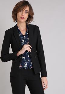 Blazer Feminino Em Jacquard Com Zíper No Bolso Preto