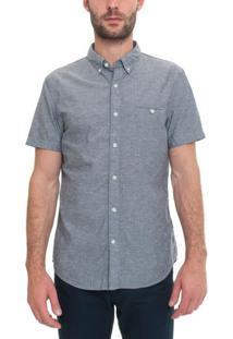 Camisa Manga Curta Jacquard Dots Washed Poplins