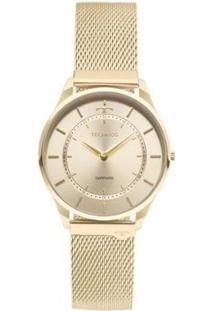 Relógio Feminino Technos 9T22Ak/4X Slim Aço - Feminino-Dourado