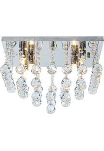 Plafon Cascata Quadrado Em Vidro Para 6 Lâmpadas