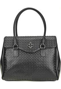 Bolsa Couro Capodarte Handbag Vazada Feminina - Feminino-Preto