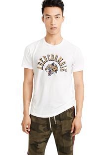 Camiseta Manga Curta Abercrombie Gráfica Branca