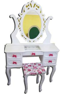 Penteadeira Filomena Mena Mena Porta Joia Com Espelho Trabalhado Branca/Rosa