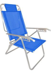 Cadeira Praia Reclinável Zaka Infinita Up Alumínio Até 100 Kg Azul