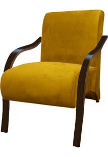 Poltrona Vênus 01 Lugar Braço Madeira -Amarelo
