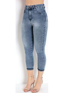 Calça Jeans Cropped Com Bolsos Sawary