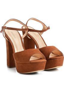 Sandália Couro Shoestock Meia Pata Feminina - Feminino-Caramelo
