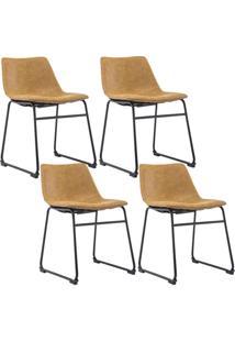 Kit 04 Cadeiras Decorativa Sala De Estar Recepçáo Fixa Maia Pu Caramelo - Gran Belo - Tricae