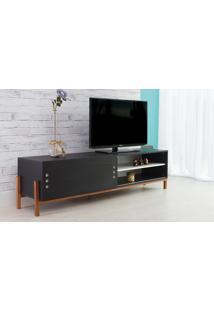 Rack Para Tv Preto Moderno Vintage Retrô Com Porta De Correr Preta Eric - 186X43,6X48,5 Cm