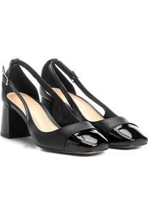 Scarpin Couro Shoestock Salto Bloco Biqueira - Feminino-Preto