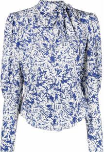Isabel Marant Vestido Com Estampa Abstrata E Laço Na Gola - Azul
