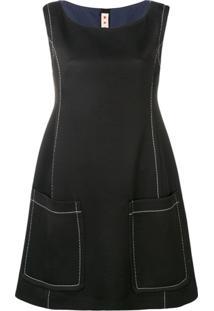 Marni Vestido Com Costura Contrastante - Preto