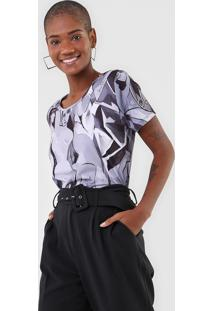 Camiseta Lanã§A Perfume Mulheres Cinza - Cinza - Feminino - Poliã©Ster - Dafiti