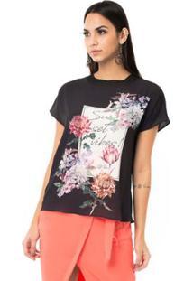 T-Shirt Estampada Gola De Tricô - Feminino-Preto