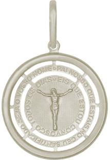 Pingente Prata Mil Medalha Vazada Com Cristo Borda Lisa Dizeres Com Ródio