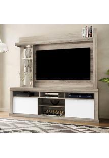 Estante Home Theater Para Tv Até 50 Polegadas 2 Portas Com Espelho, Vidro E Led Flex Color Maracá Castanho Rústico/Branco Neve/Castanho Rústico - Coli