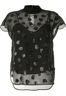 Mame Kurogouchi Blusa Translúcida Com Gola Alta Ampla - Preto
