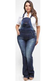 Macacão Jeans Xtra Charmy Flare Plus Size Feminino - Feminino-Azul