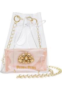 Bolsa Pedra Pura Transparente Feminino - Feminino-Rosê
