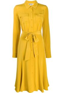 Diane Von Furstenberg Chemise Com Amarração Na Cintura - Amarelo