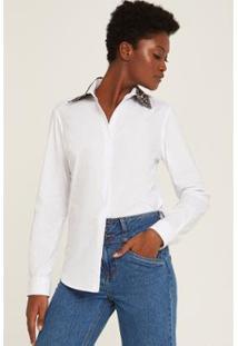 Camisa Gola Onça Feminina - Feminino-Branco