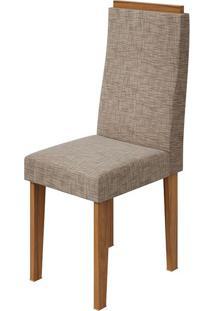 Cadeira Dafne Velvet Riscado Bege Rovere Naturale