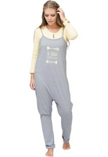 Pijama Longo Inspirate Saruel Adventure Feminino - Feminino-Cinza+ Amarelo