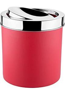 Lixeira Com Tampa Basculante Inox 5,4 Litros - Decorline Lixeiras Ø 18,5 X 23 Cm Vermelho
