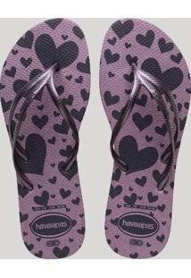 035d3ce801 ... Chinelo Feminino Havaianas Estampado De Corações Com Glitter Roxo