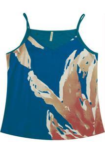 Blusa Com Alça Fina E Estampa Rotativa Azul