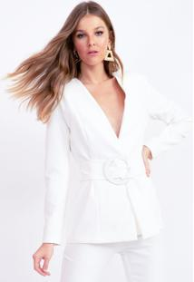 Blazer Bana Bana Com Cinto Premium - Off-White - Feminino - Dafiti