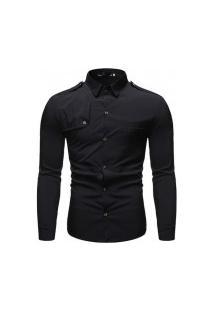 Camisa Masculina Slim Detail - Preta