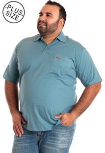 Camisa Konciny Polo Plus Size Azul Claro