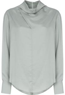 Low Classic Cowl-Neck Blouse - Verde