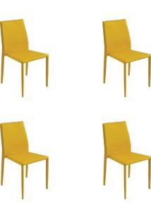 Kit 04 Cadeiras Amanda Pvc Amarela Rivatti