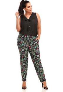 Calça Conforto Plus Size Floral Feminina - Feminino