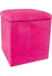 Puff Decorativo Baú Dani Quadrado Suede Rosa Barbie - D'Rossi