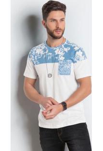 Camiseta Actual Branca Com Estampa Floral