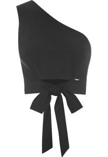 Blusa Feminino Cropped Um Ombro Só Amarração - Preto